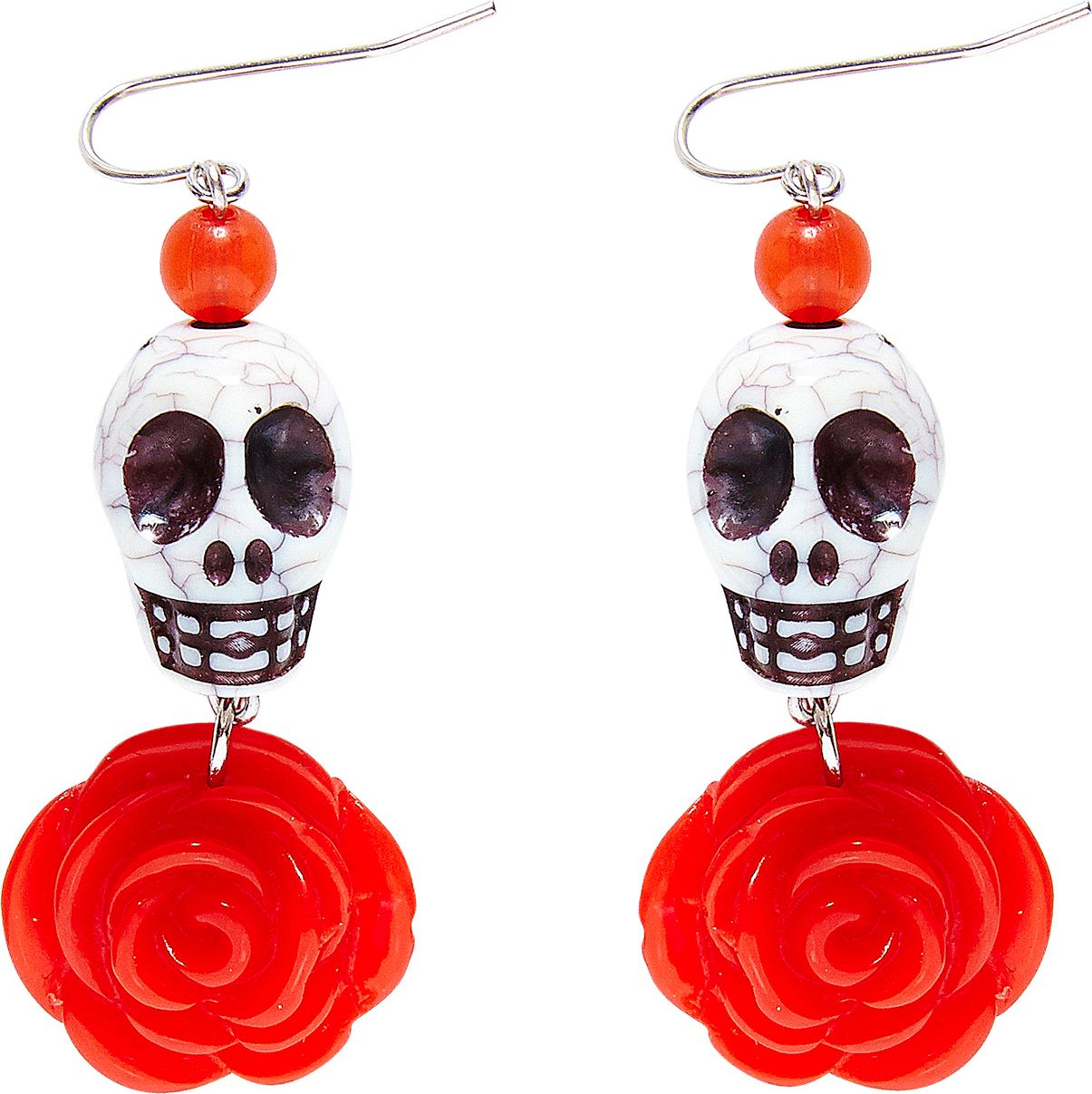Day of the dead oorbellen rood wit
