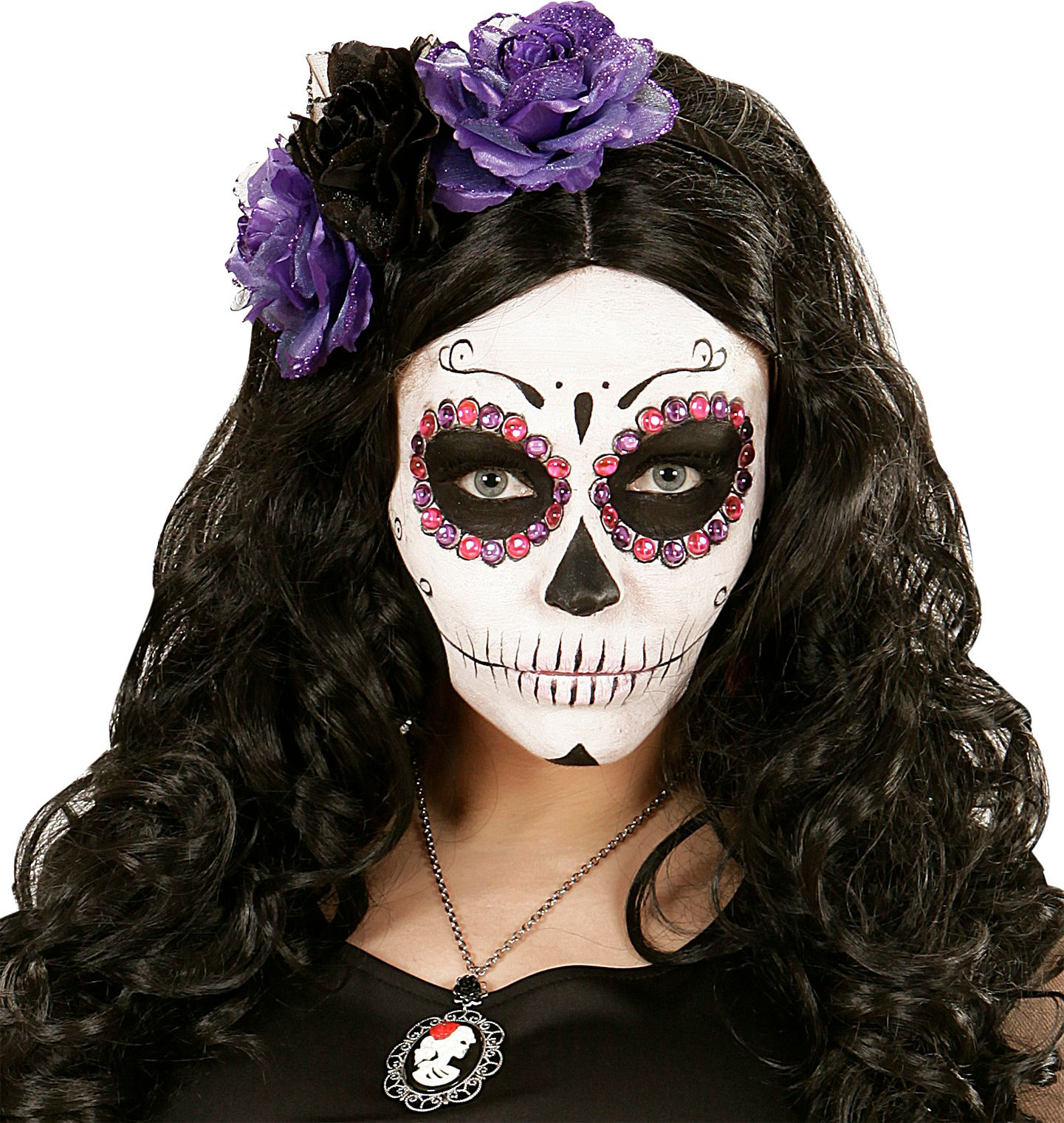 Day of the dead paarse en roze edelstenen set 40 stuks