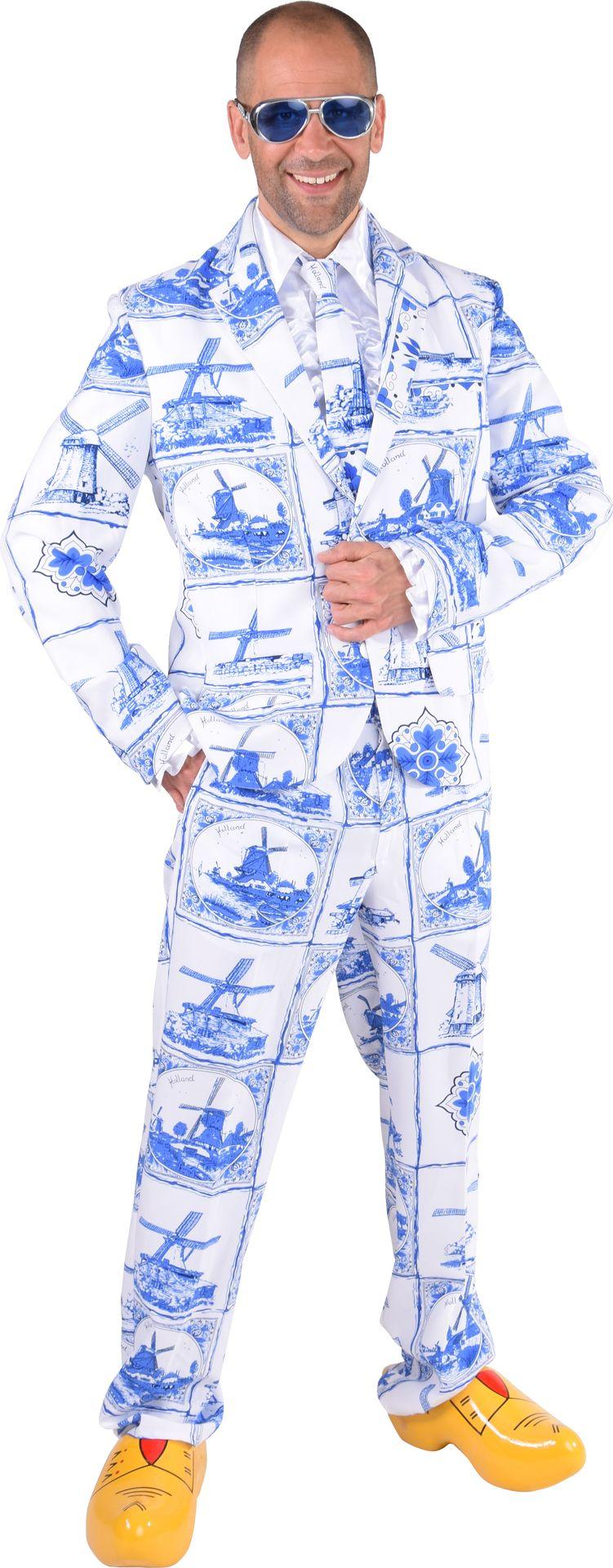 Delfsblauw kostuum mannen