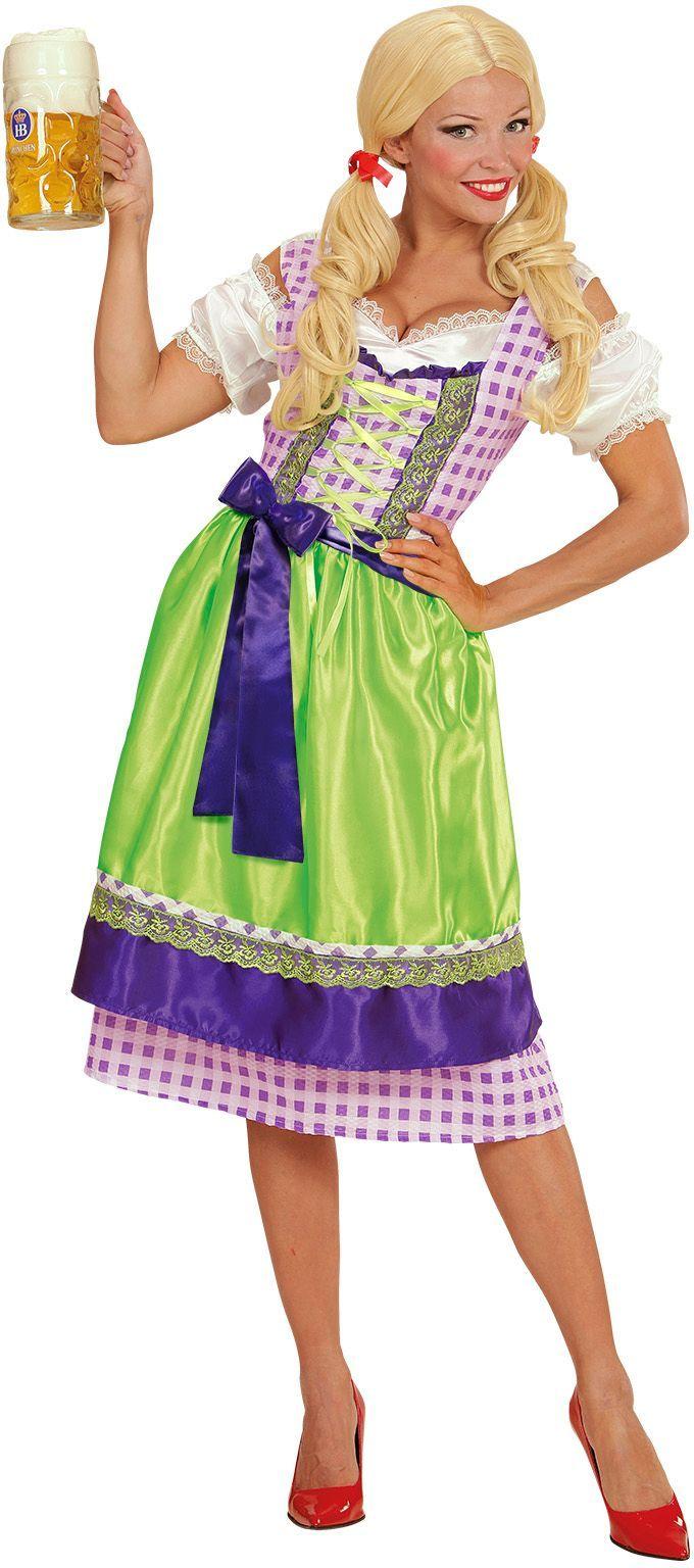 Dirndl jurk paars/groen