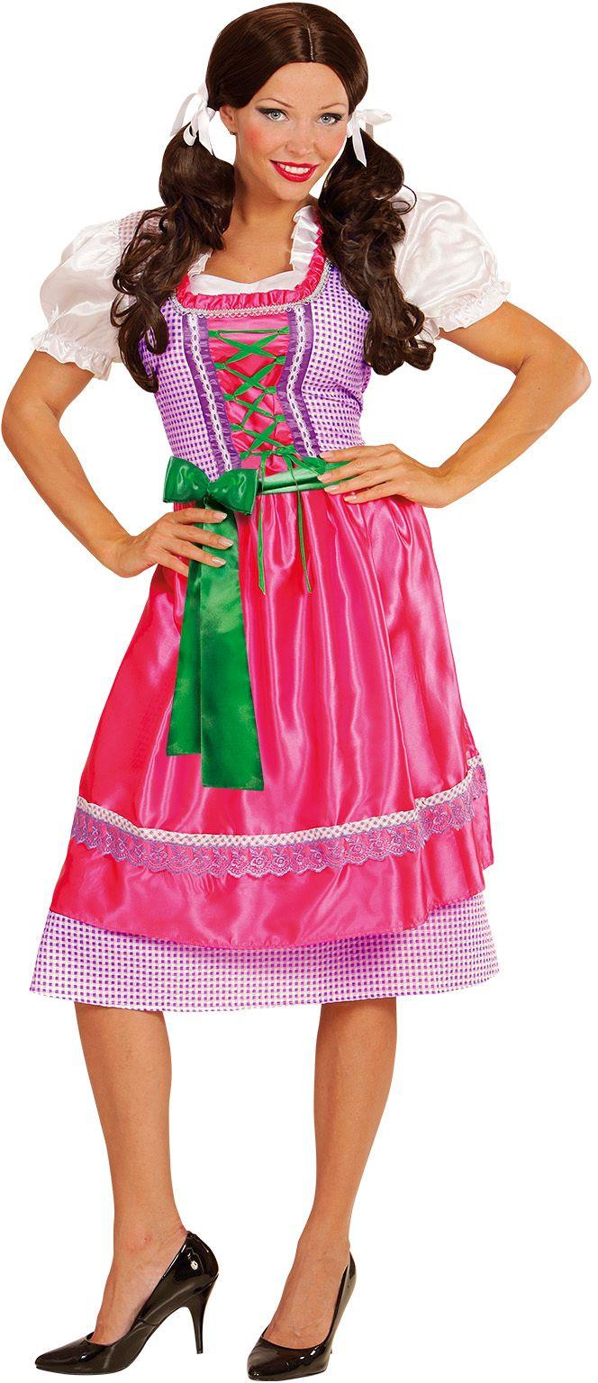 Dirndl jurk roze/groen