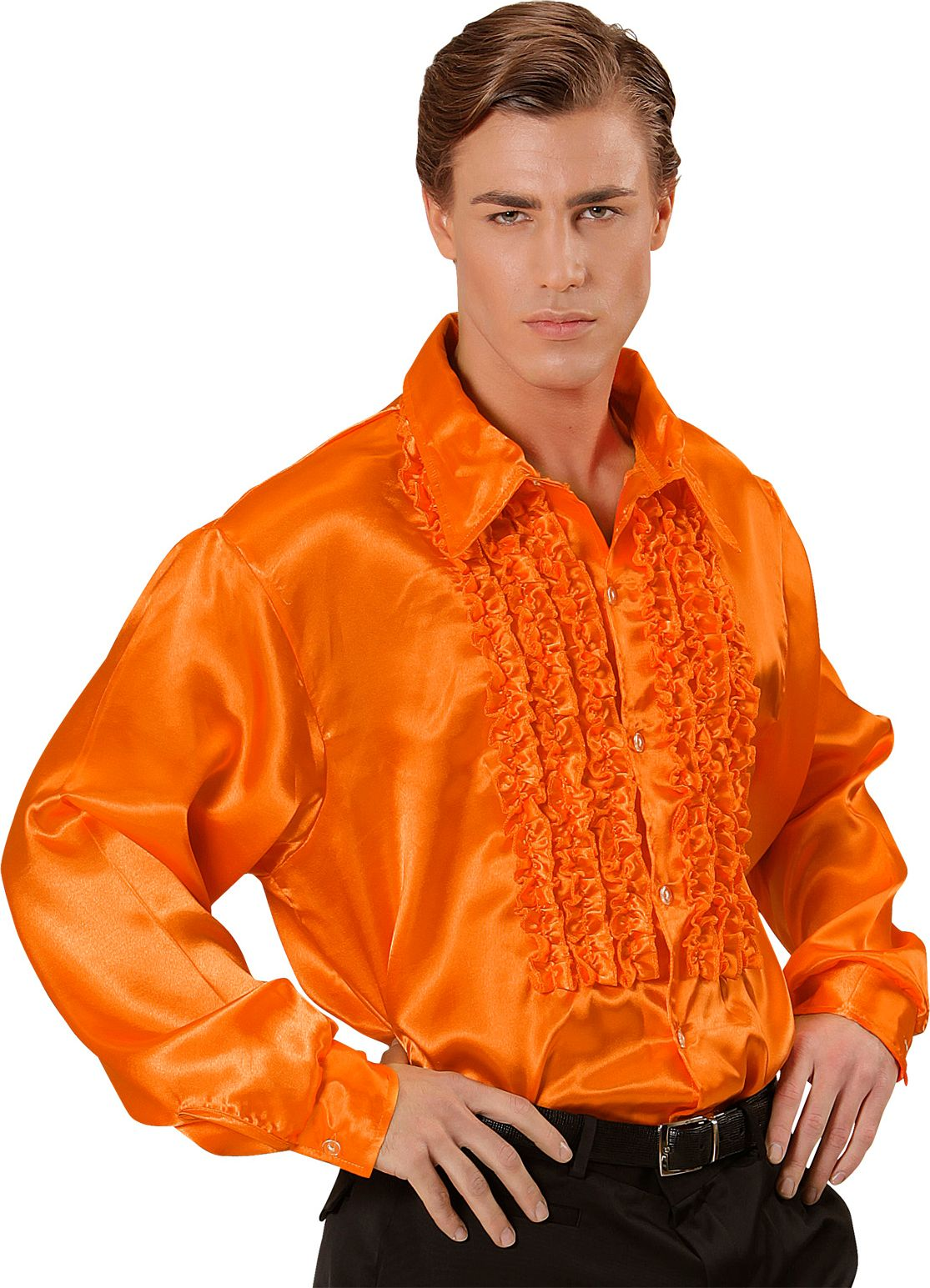 Disco blouse met ruches oranje