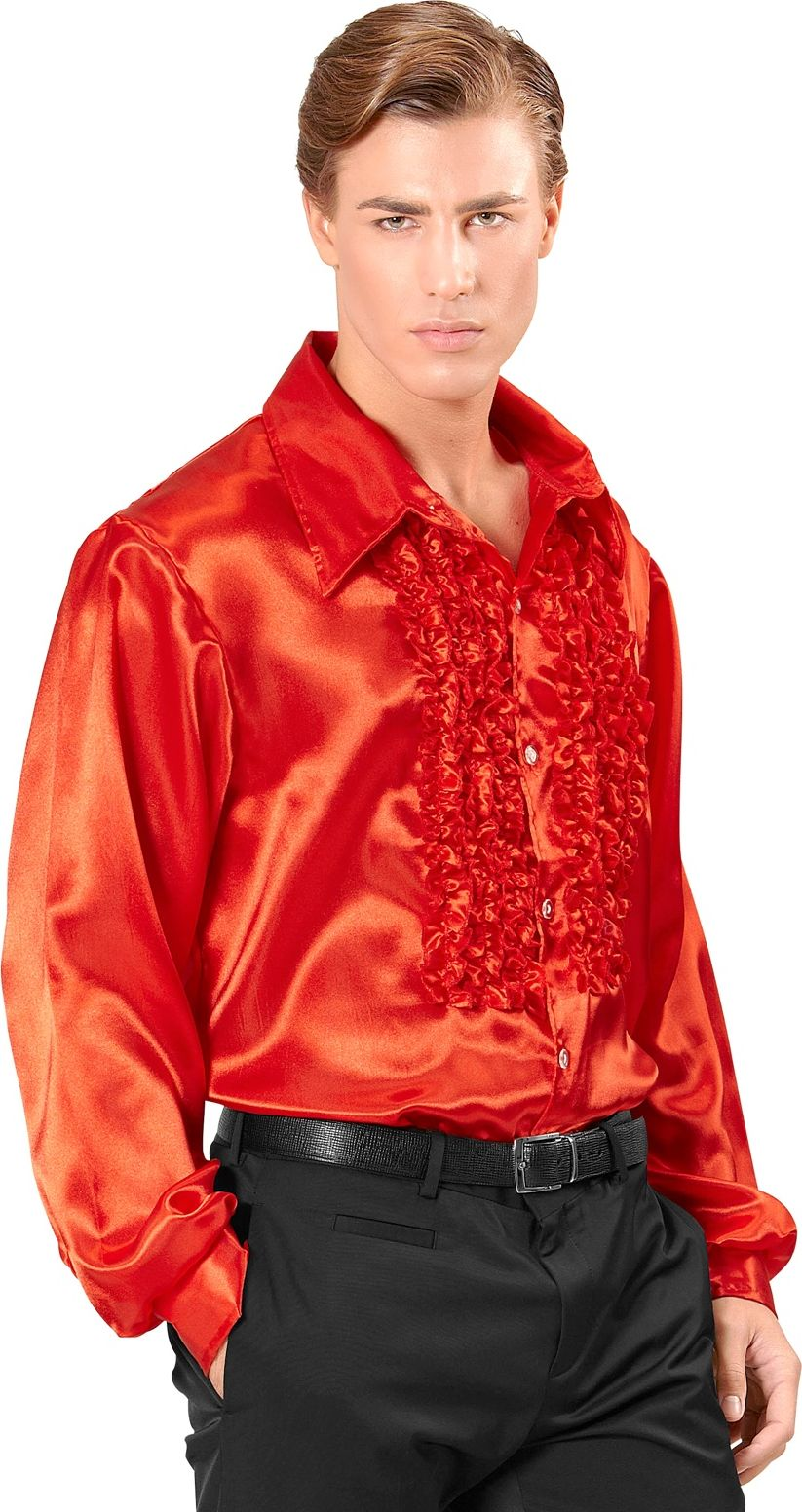 Disco blouse met ruches rood