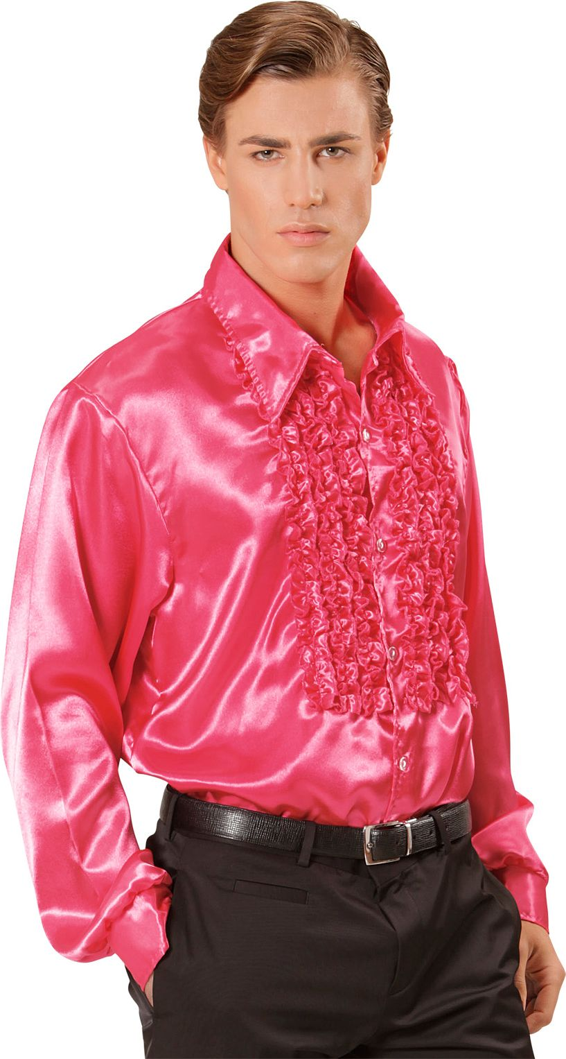 Disco blouse met ruches roze