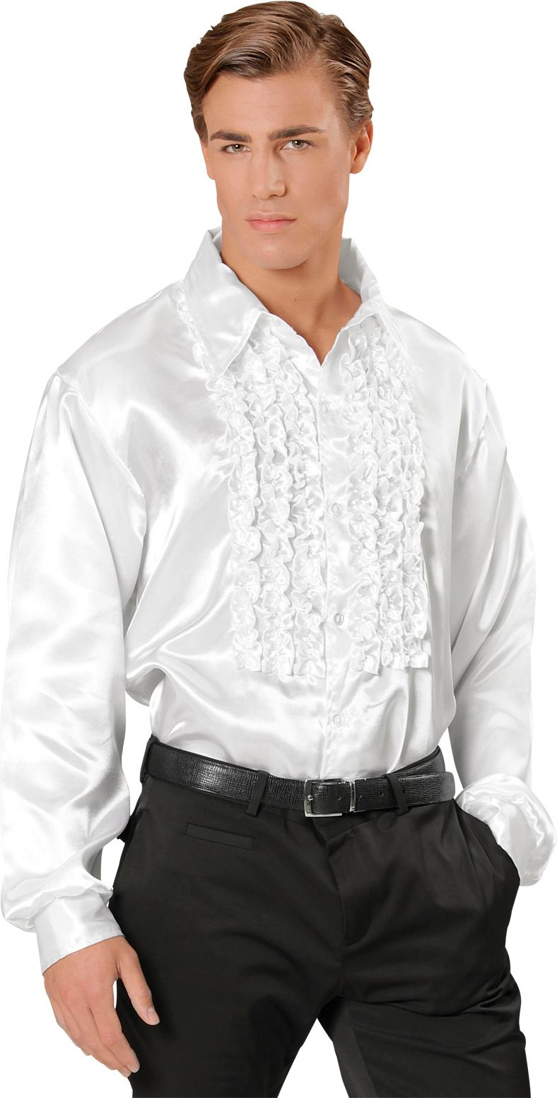 Disco blouse met ruches wit