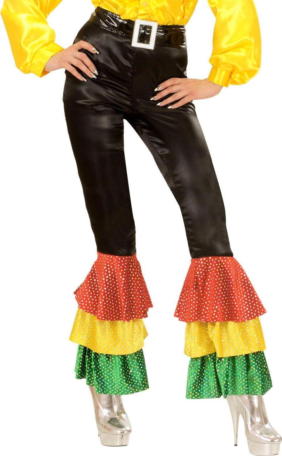 Disco broek met gekleurde pailletten dames