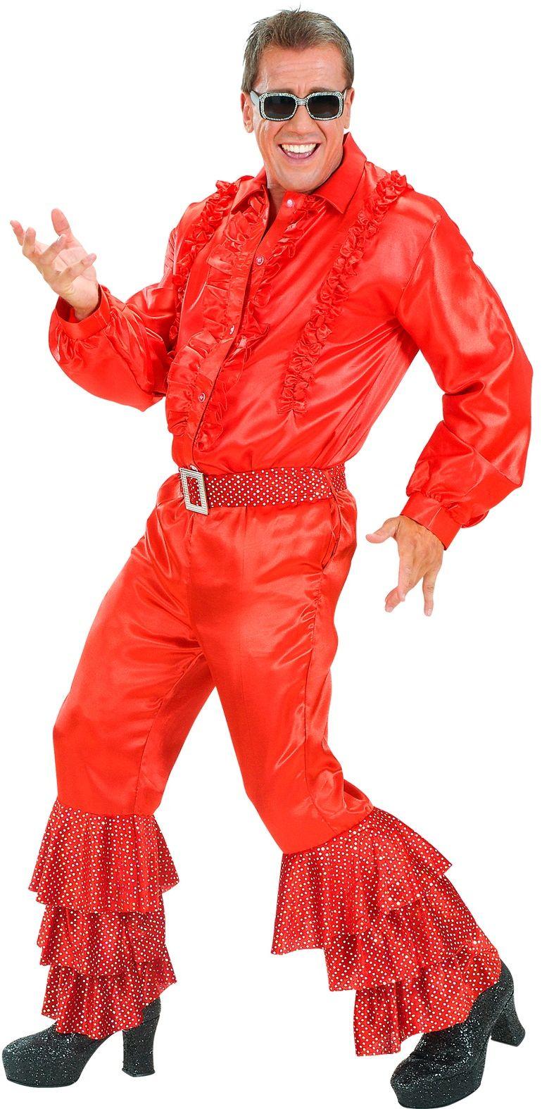 Disco broek met pailletten rood