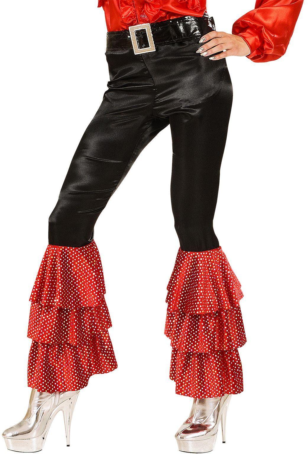 Disco broek met rode pailletten