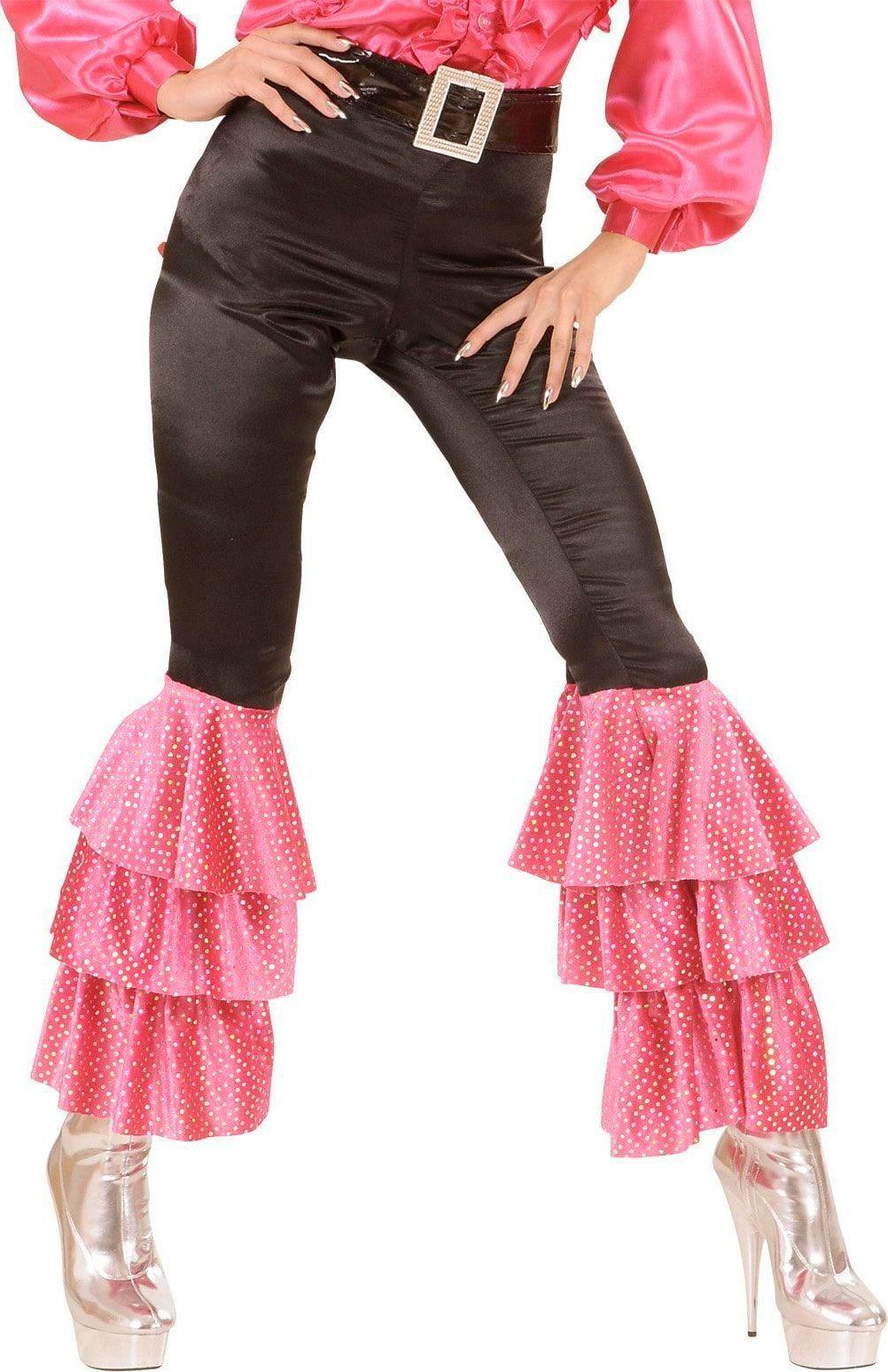 Disco broek met roze pailletten dames