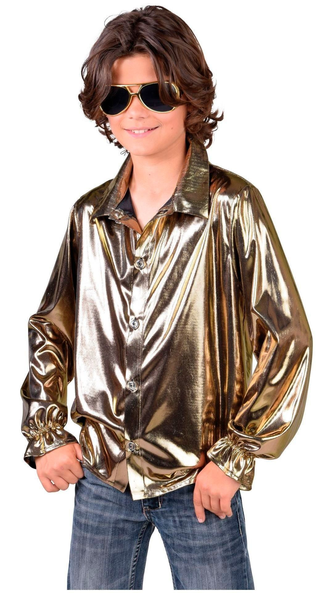 Disco hemd goud jongens