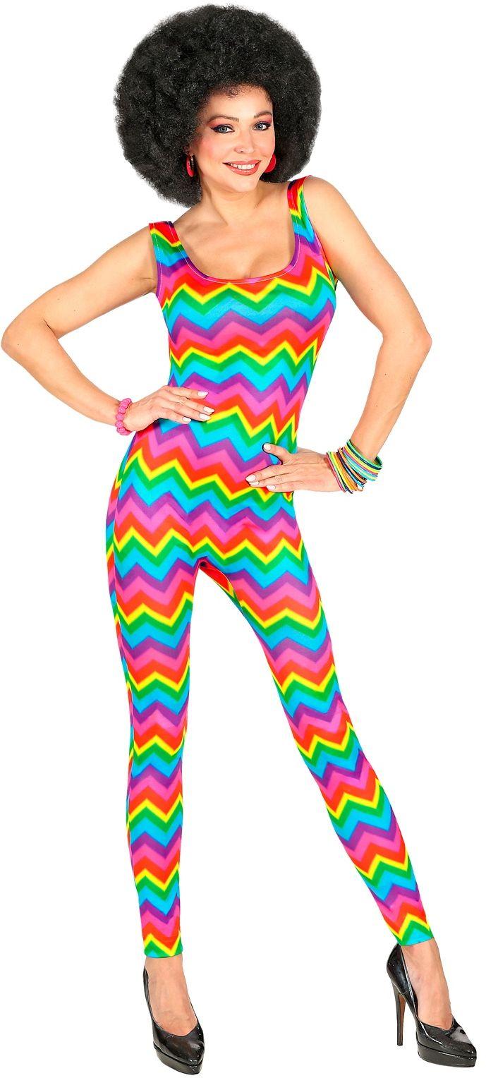 Disco jumpsuit regenboog