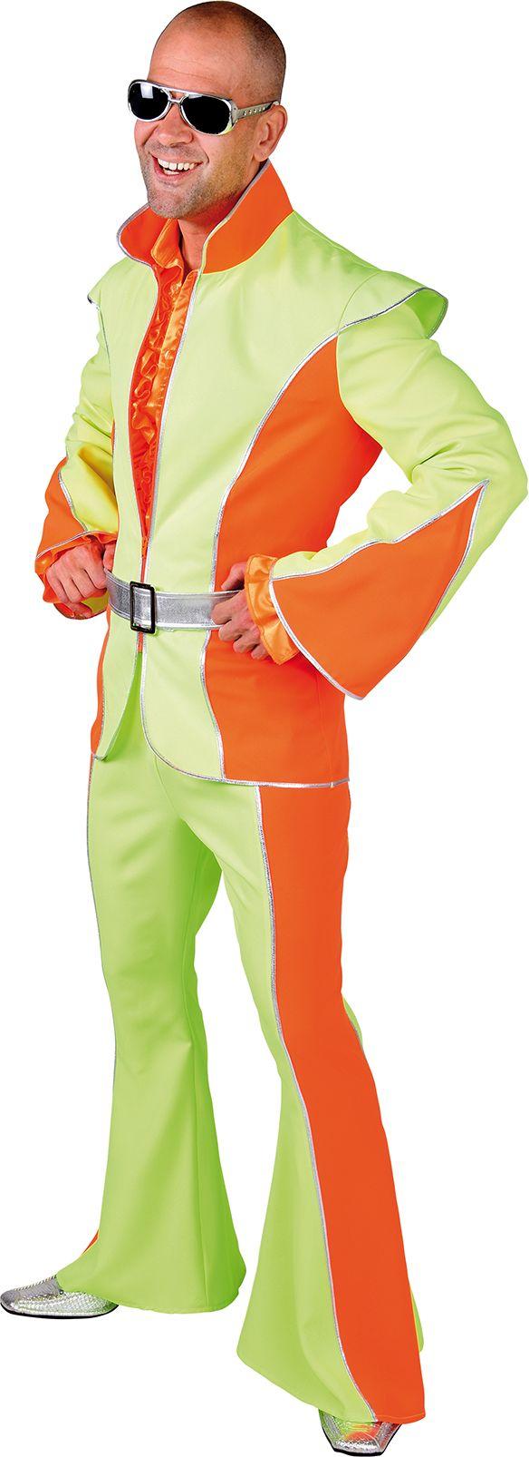 Disco pak fluor oranje groen man