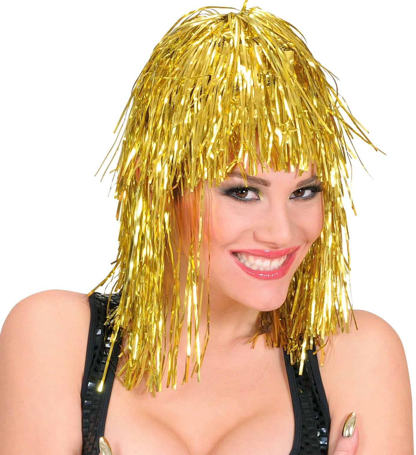 Disco pruik goud
