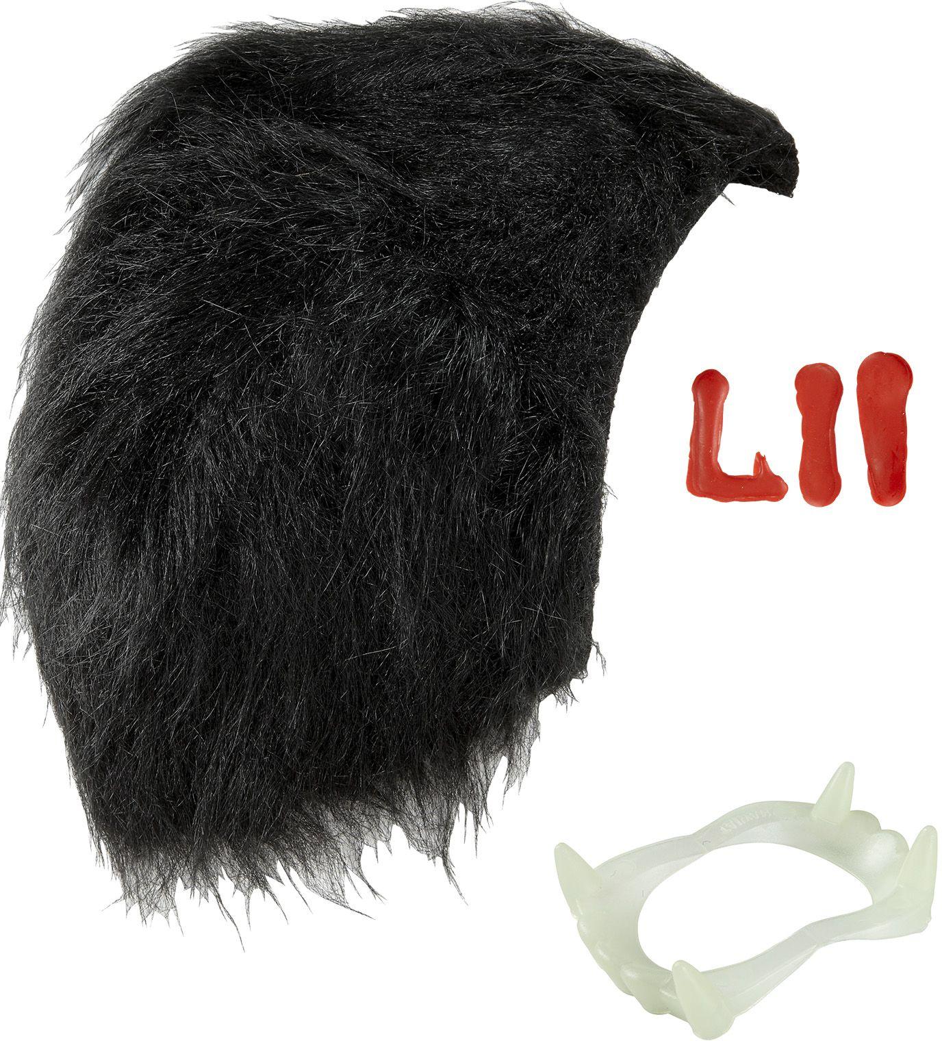 Dracula tanden, pruik en bloeddruppels
