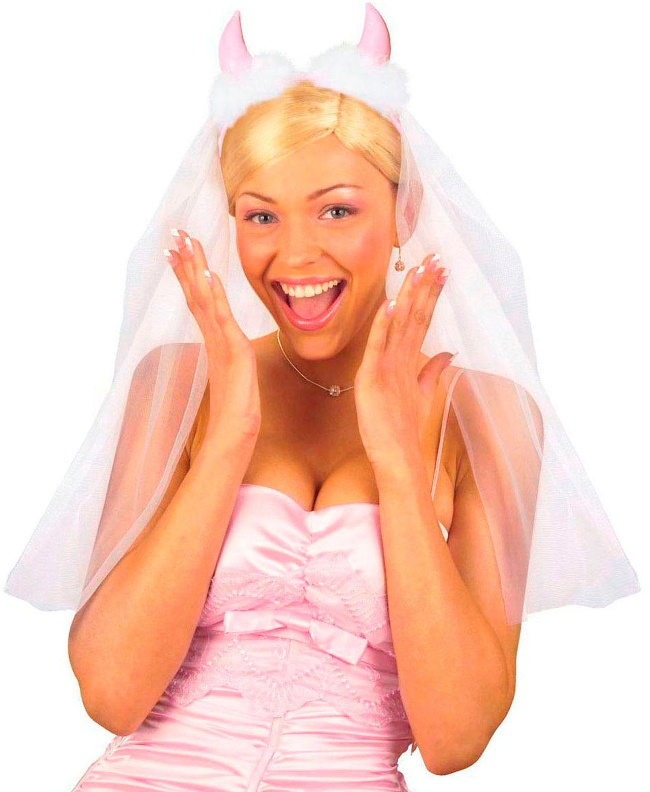 Duivel hoorntjes haardband met bruidssluier
