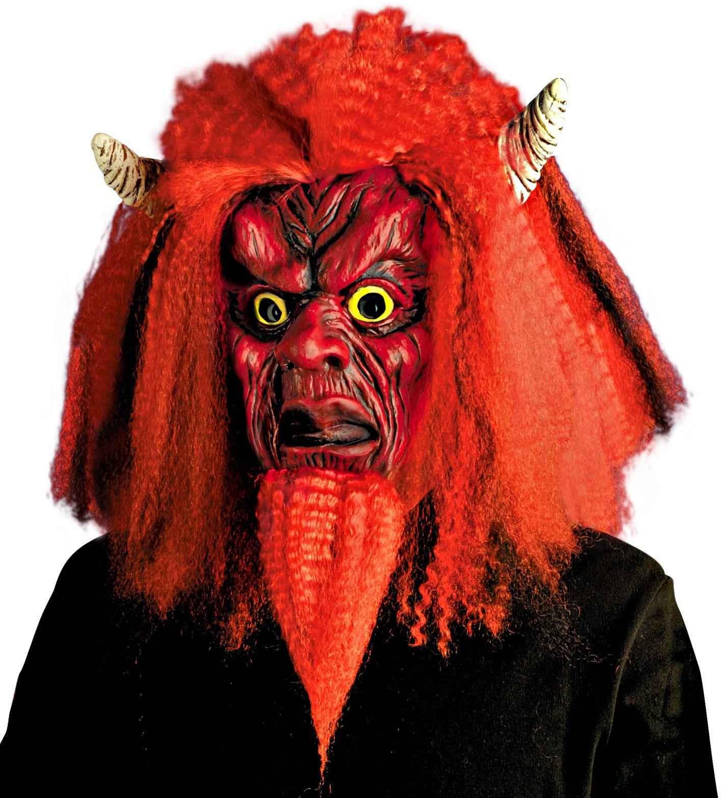 Duivel masker met pruik en sik