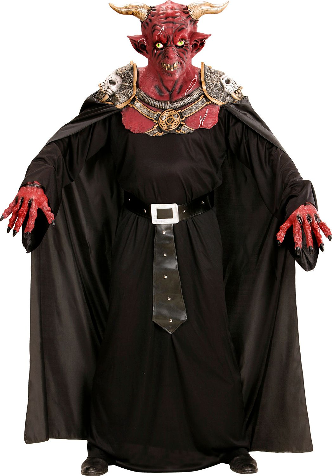Duivels krijgersmasker met cape One-size-volwassenen