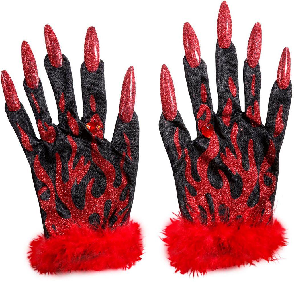 Duivelse glitter handschoenen