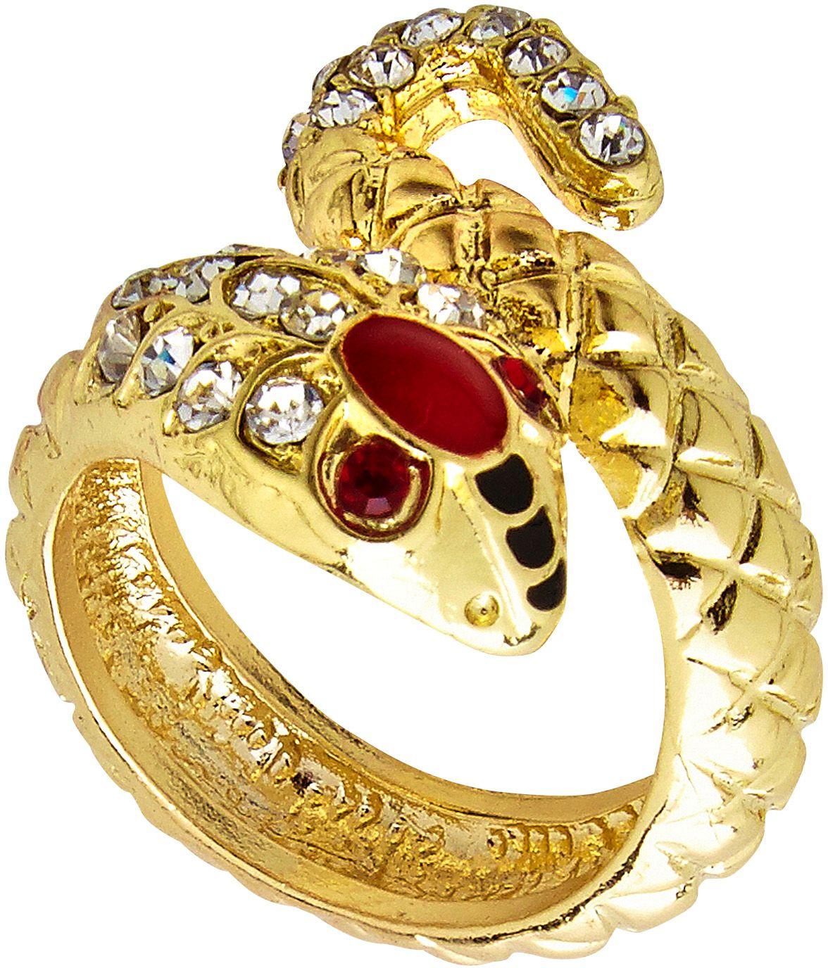 Egyptische gouden slangen ring met edelsteen