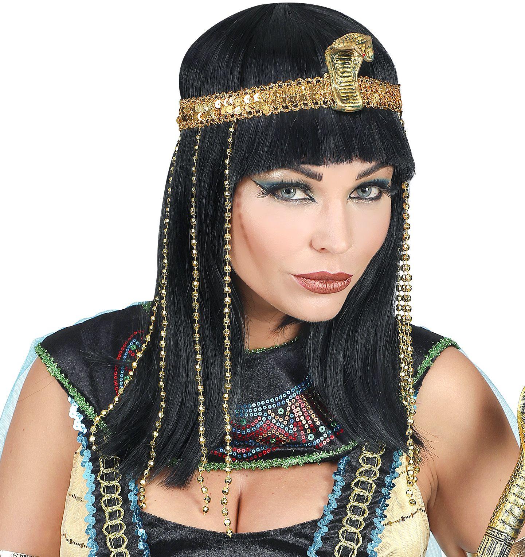 Egyptische keizerin pruik zwart dames