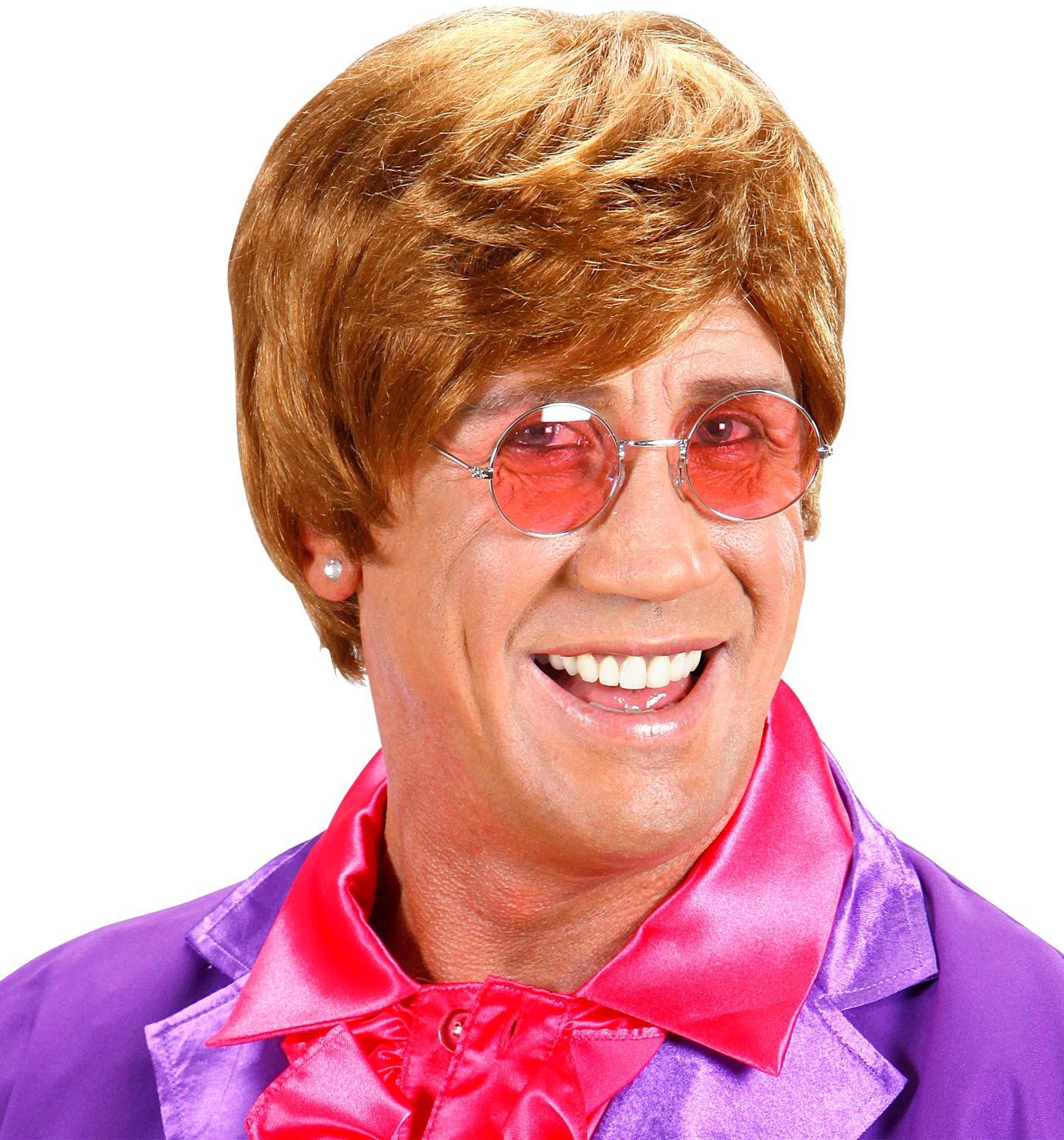Elton John pruik bruin