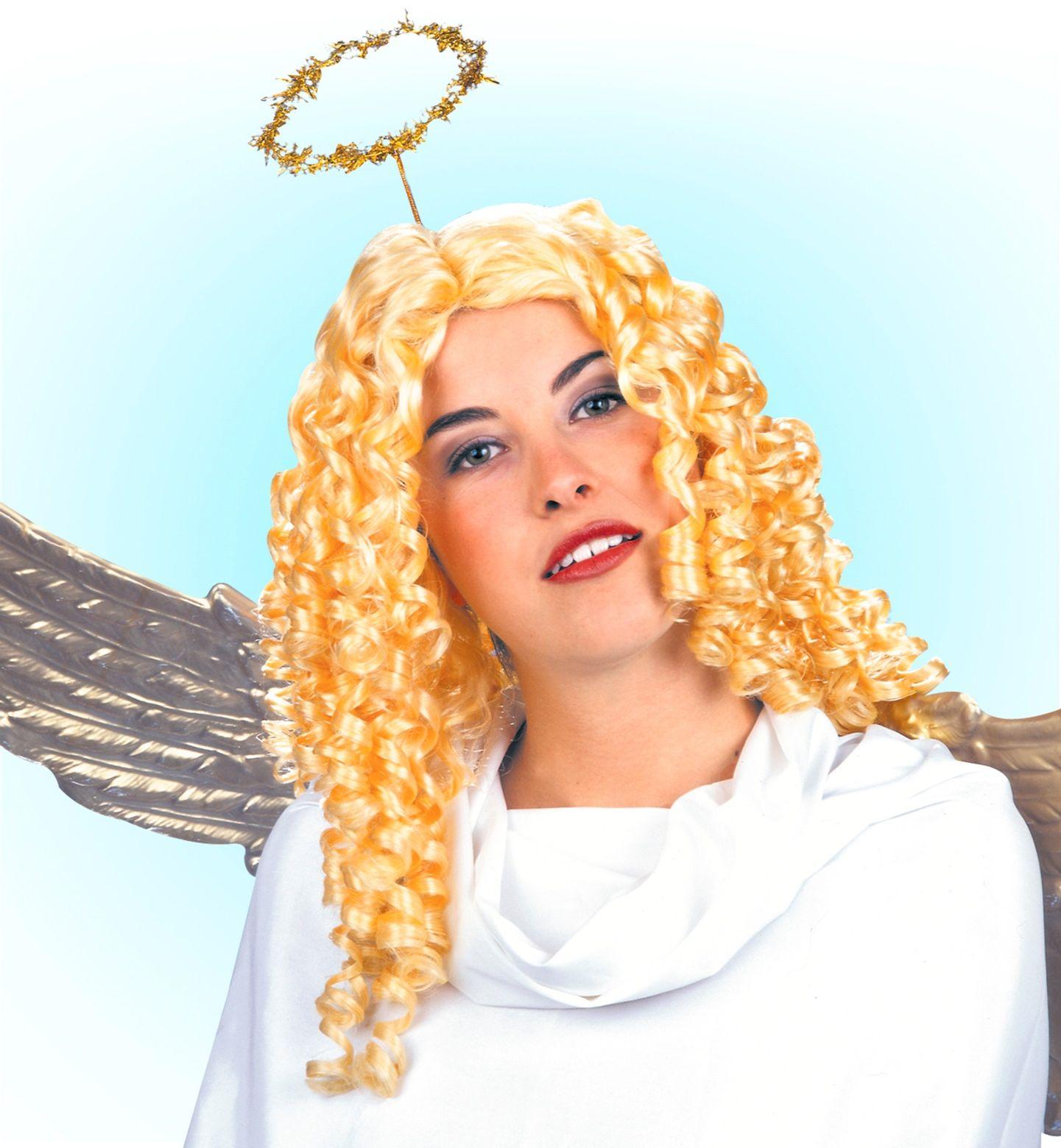 Engel pruik met krullen goud