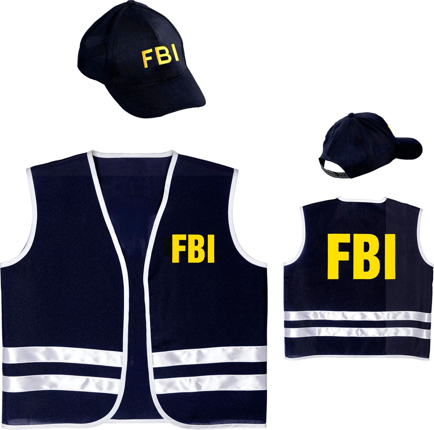 FBI vest met pet kind