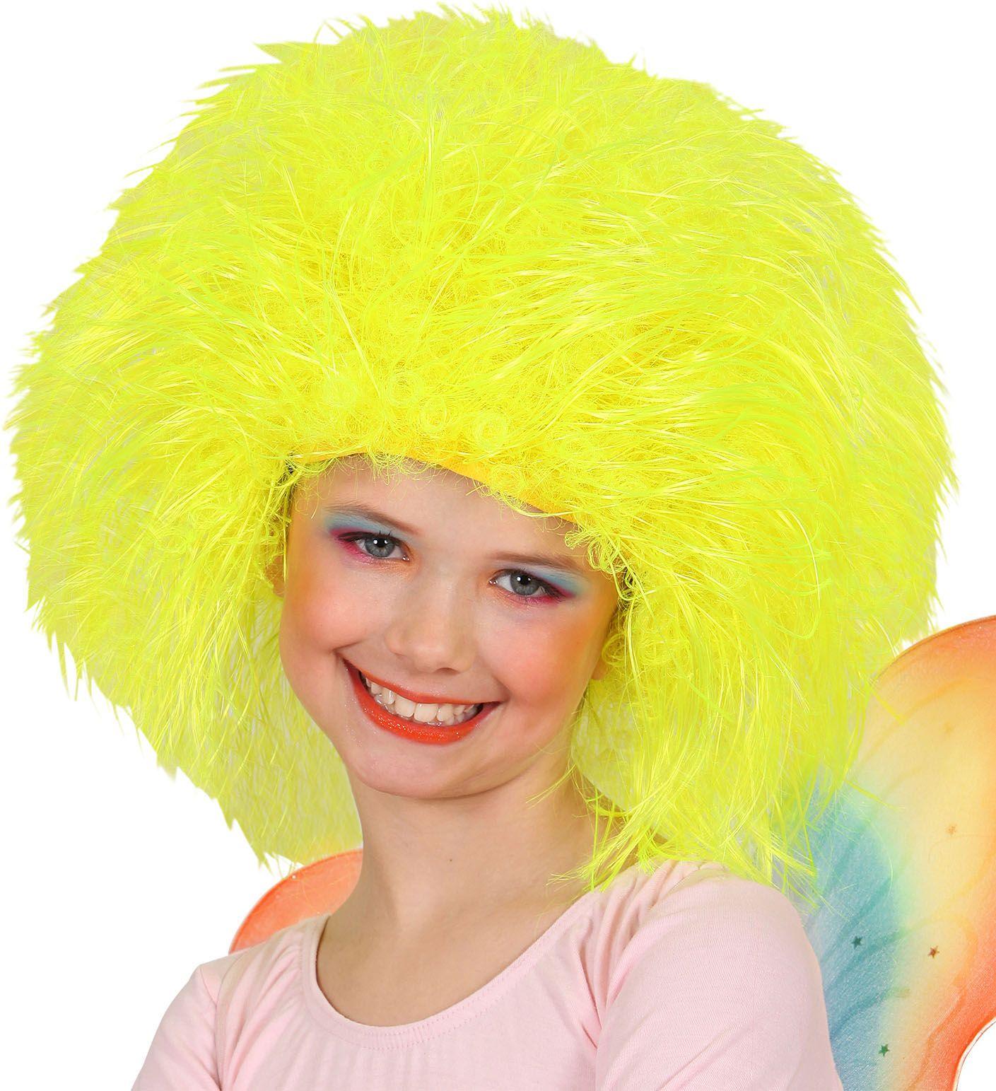Feeën pruik neon geel kind