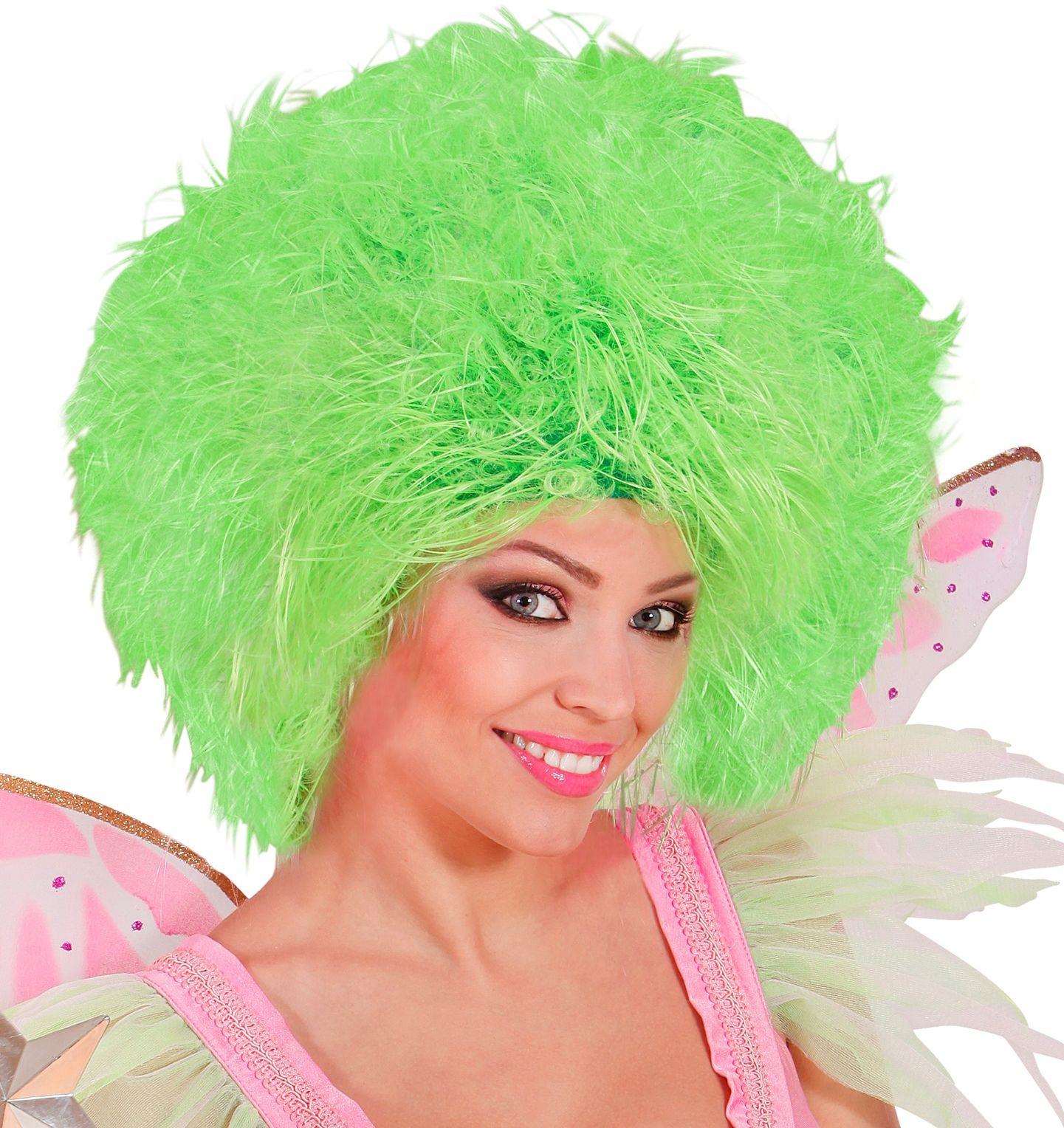 Feeën pruik neon groen