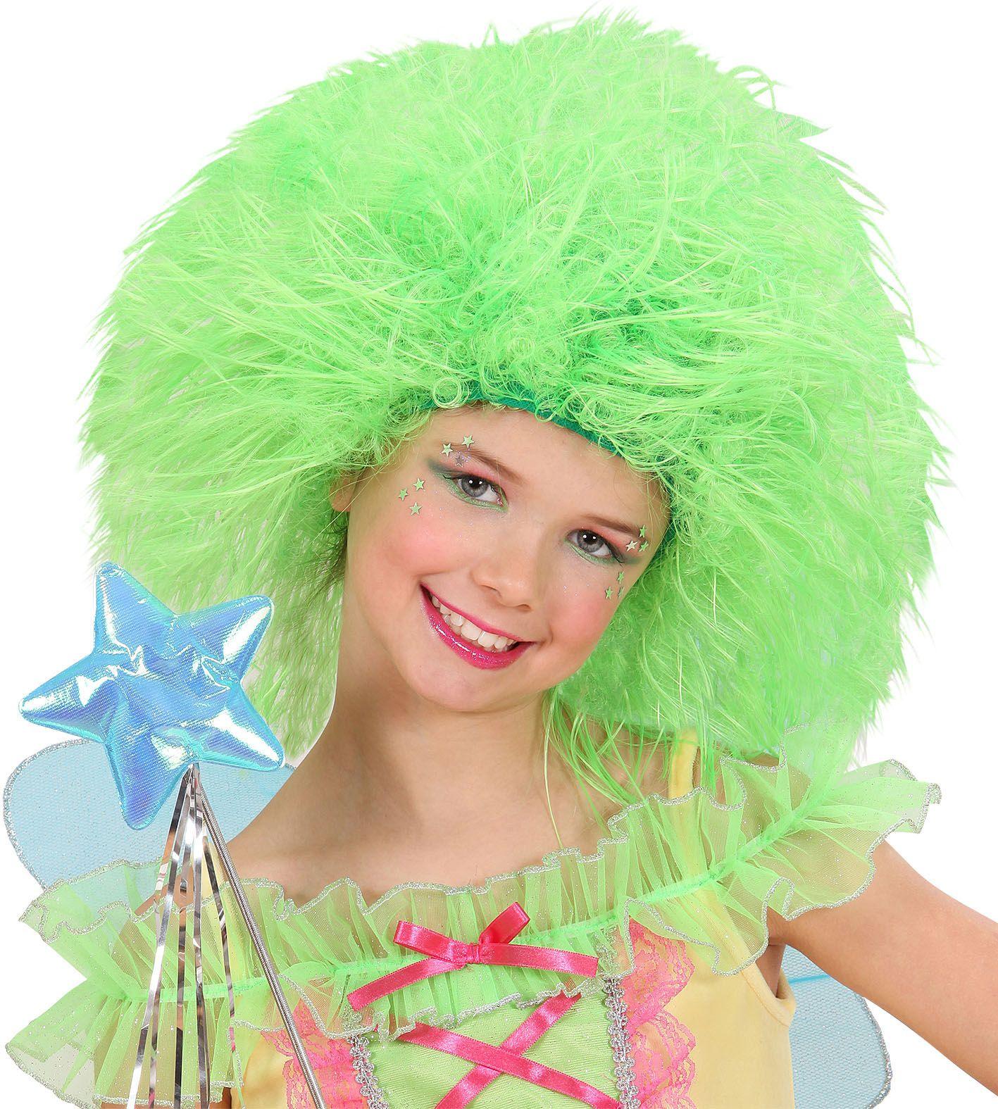 Feeën pruik neon groen kind