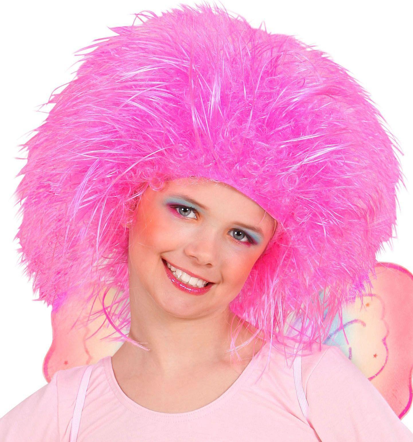 Feeën pruik neon roze kind