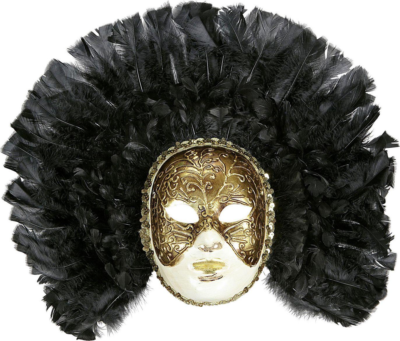 Fidelio masker met zwarte veren