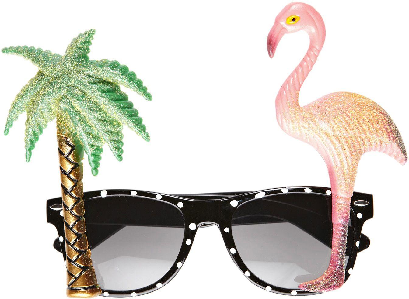 Flamingo bril met palmboom