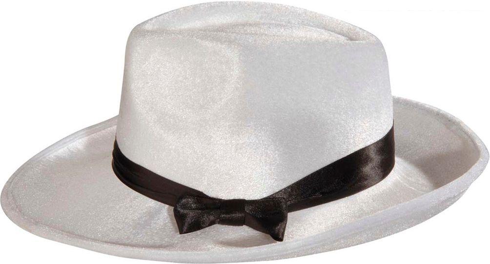 Fluwelen gangster hoed wit