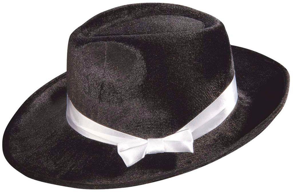 Fluwelen gangster hoed zwart