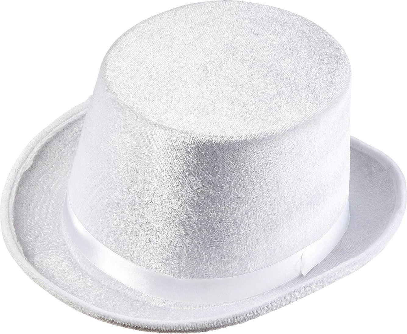 Fluwelen hoge hoed wit