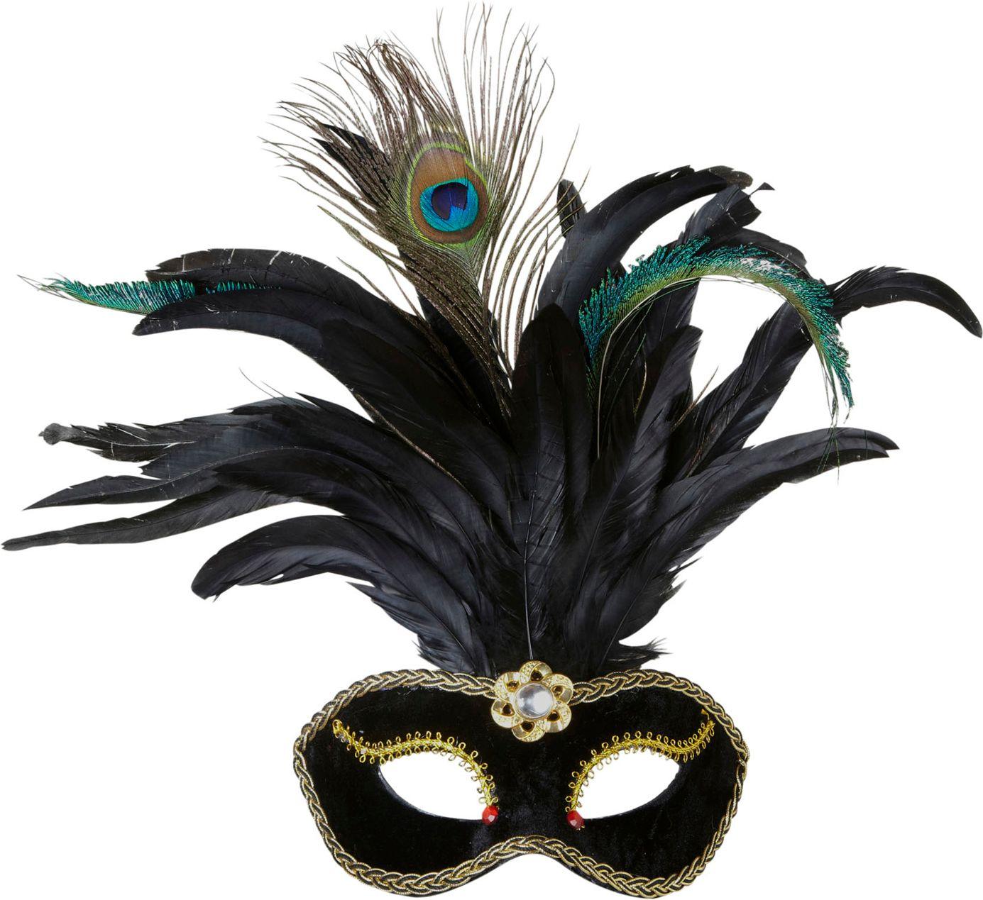 Fluwelen oogmasker met veren zwart