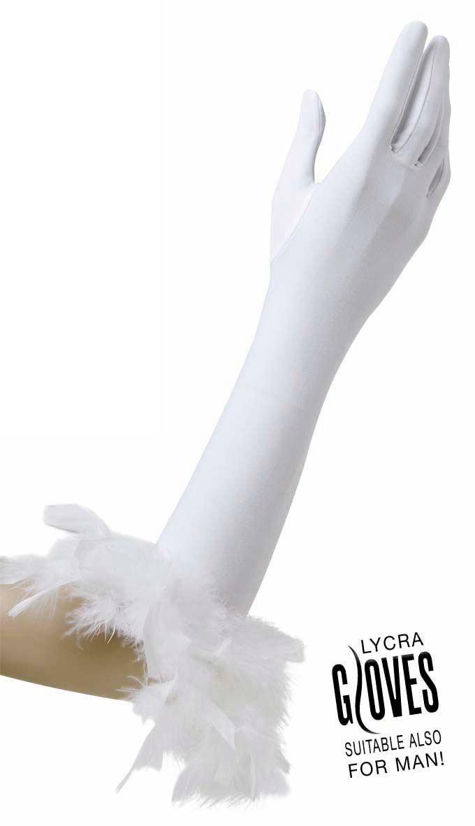 Gala handschoenen met veren wit