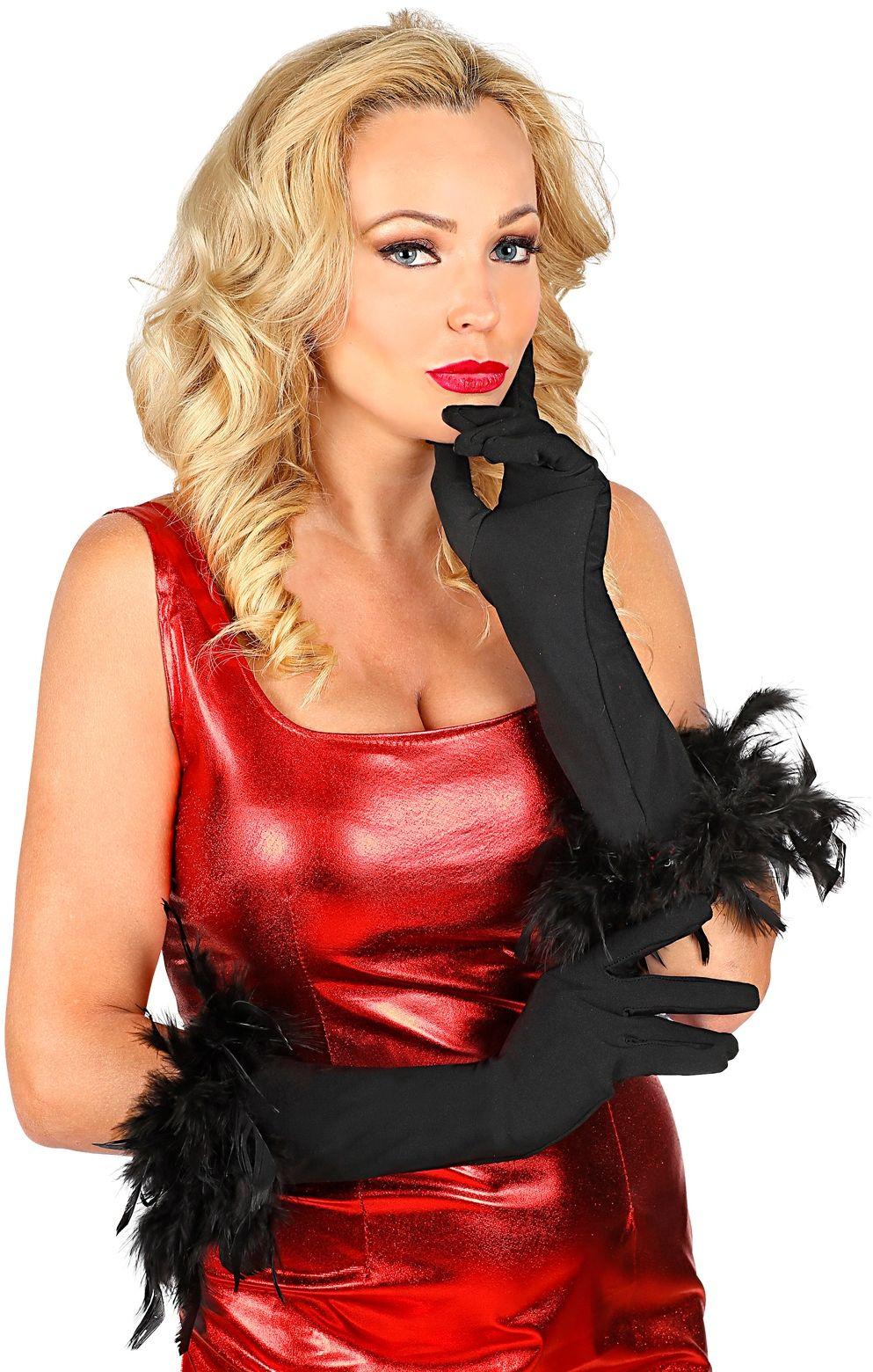 Gala handschoenen met veren zwart