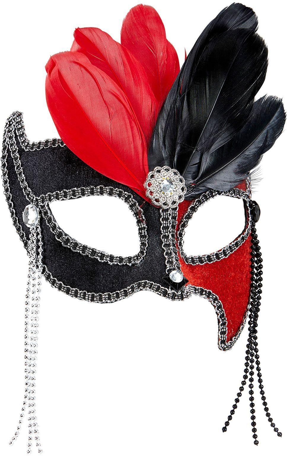 Gala oogmasker zwart-rood