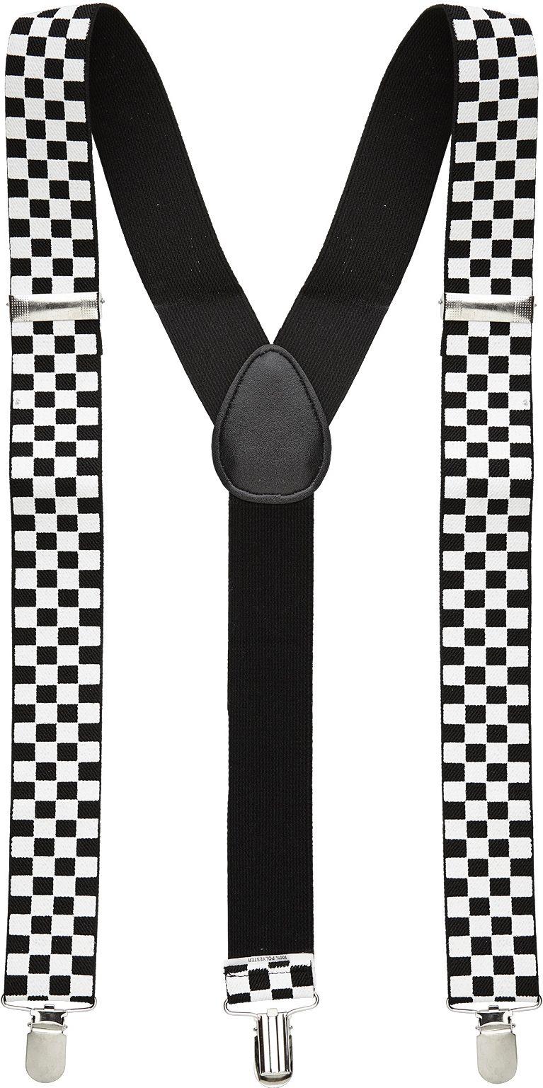 Geblokte bretels zwart wit