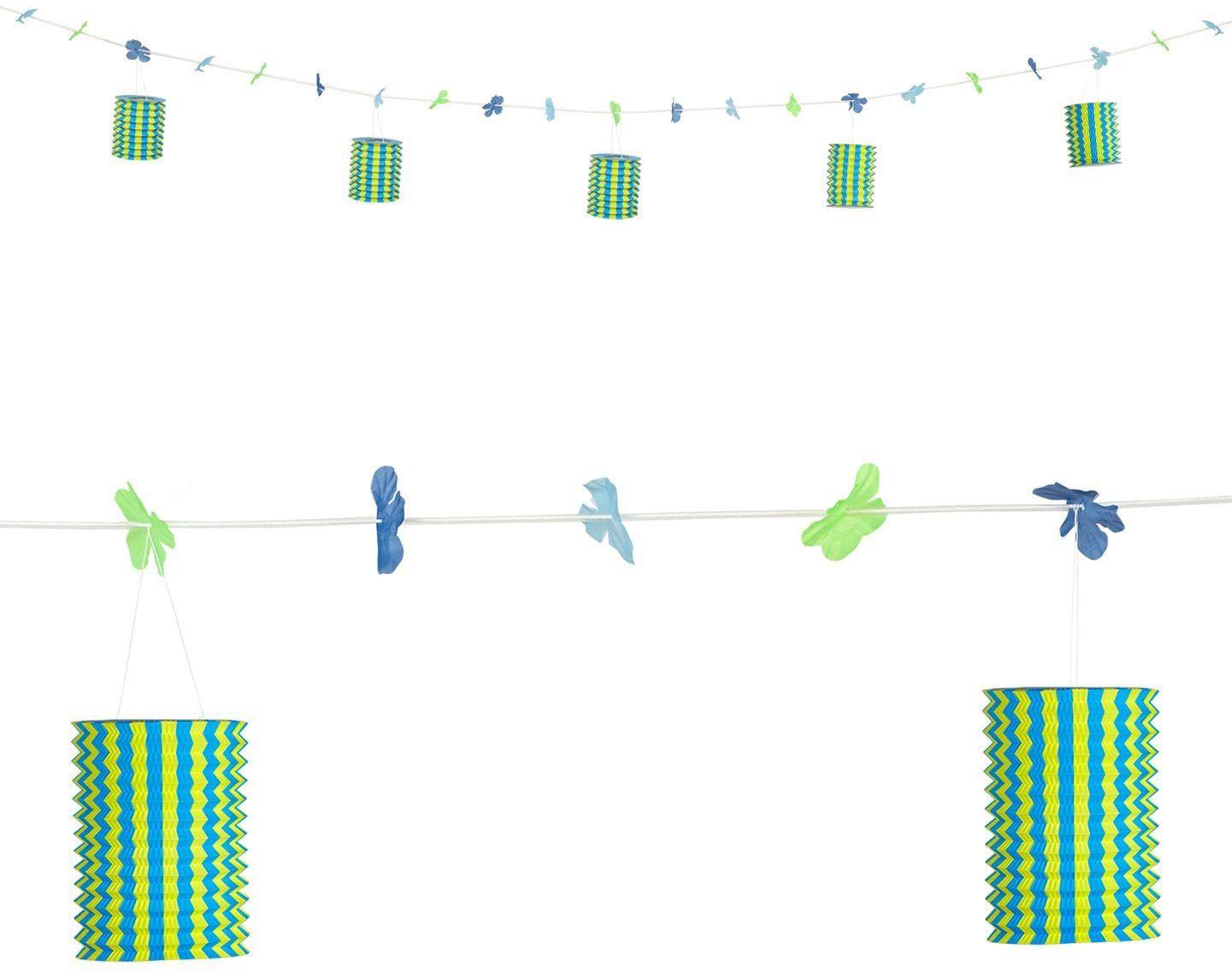 Geel-blauwe lantaarn feestslinger