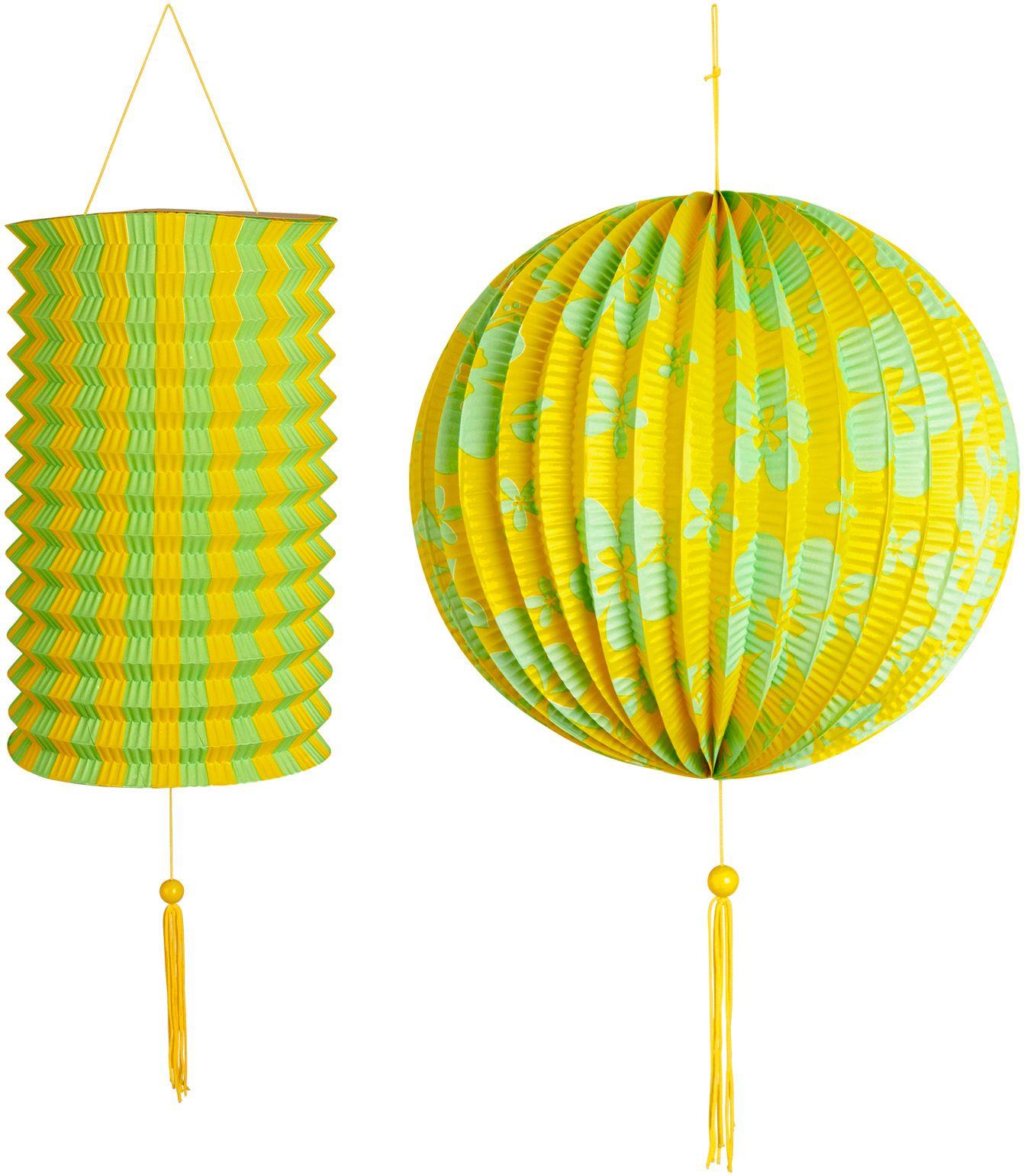 Geel groene papieren bal met lampion