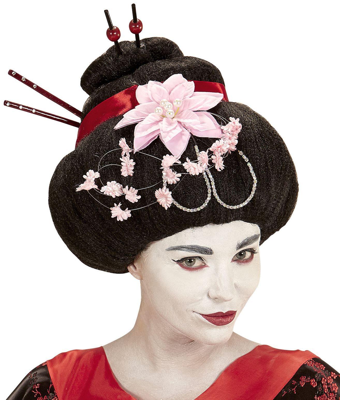 Geisha pruik met bloem