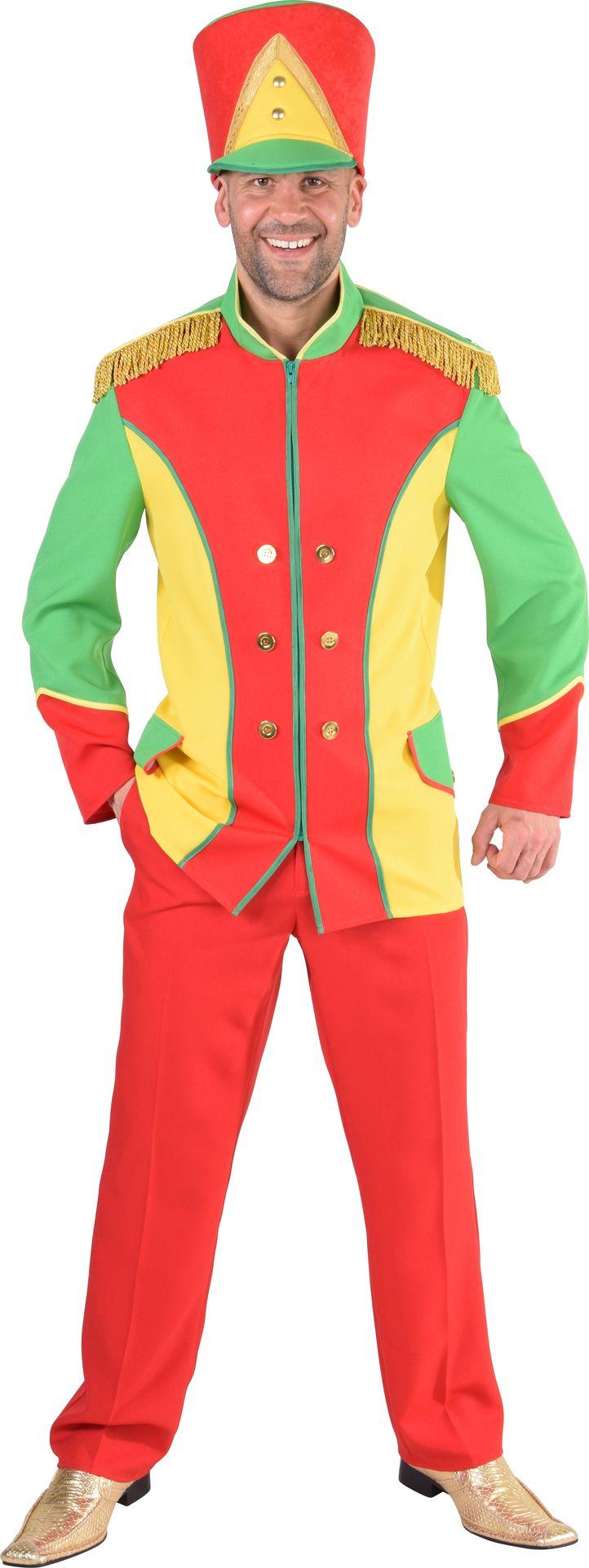 Fanfare jas rood, geel en groen mannen | Feestkleding.nl