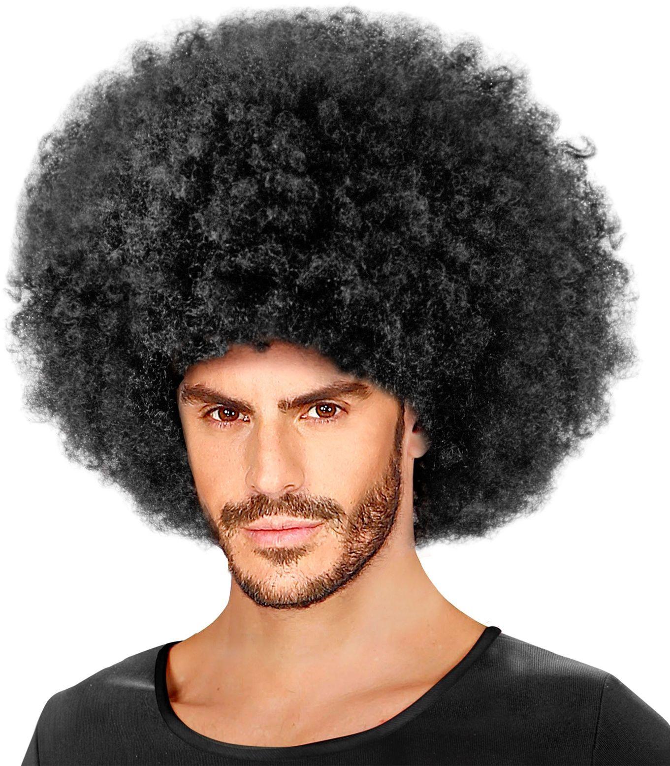 Gekrulde afro pruik zwart
