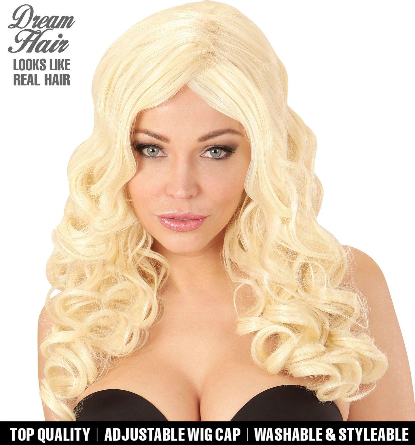 Gekrulde pruik blond