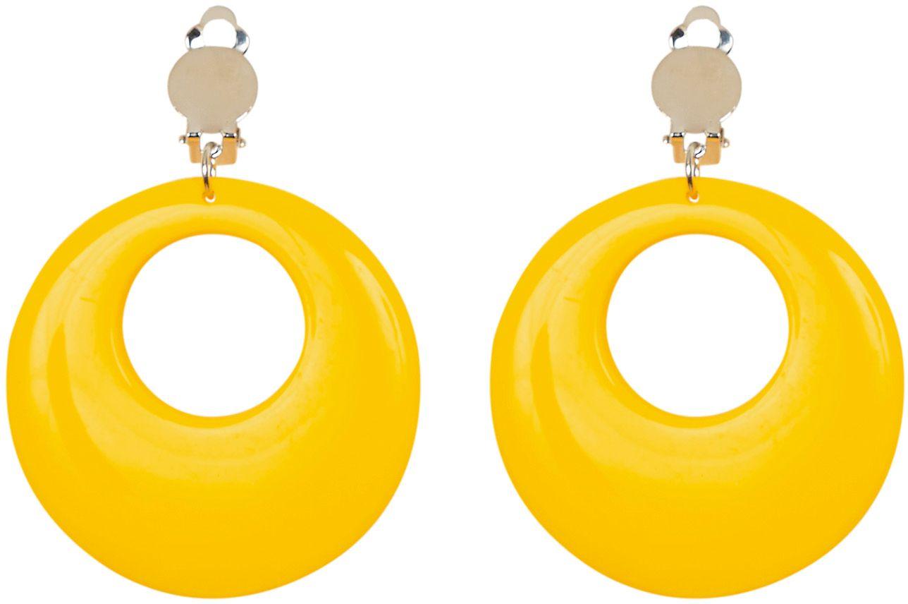 Gele 80s ring oorbellen