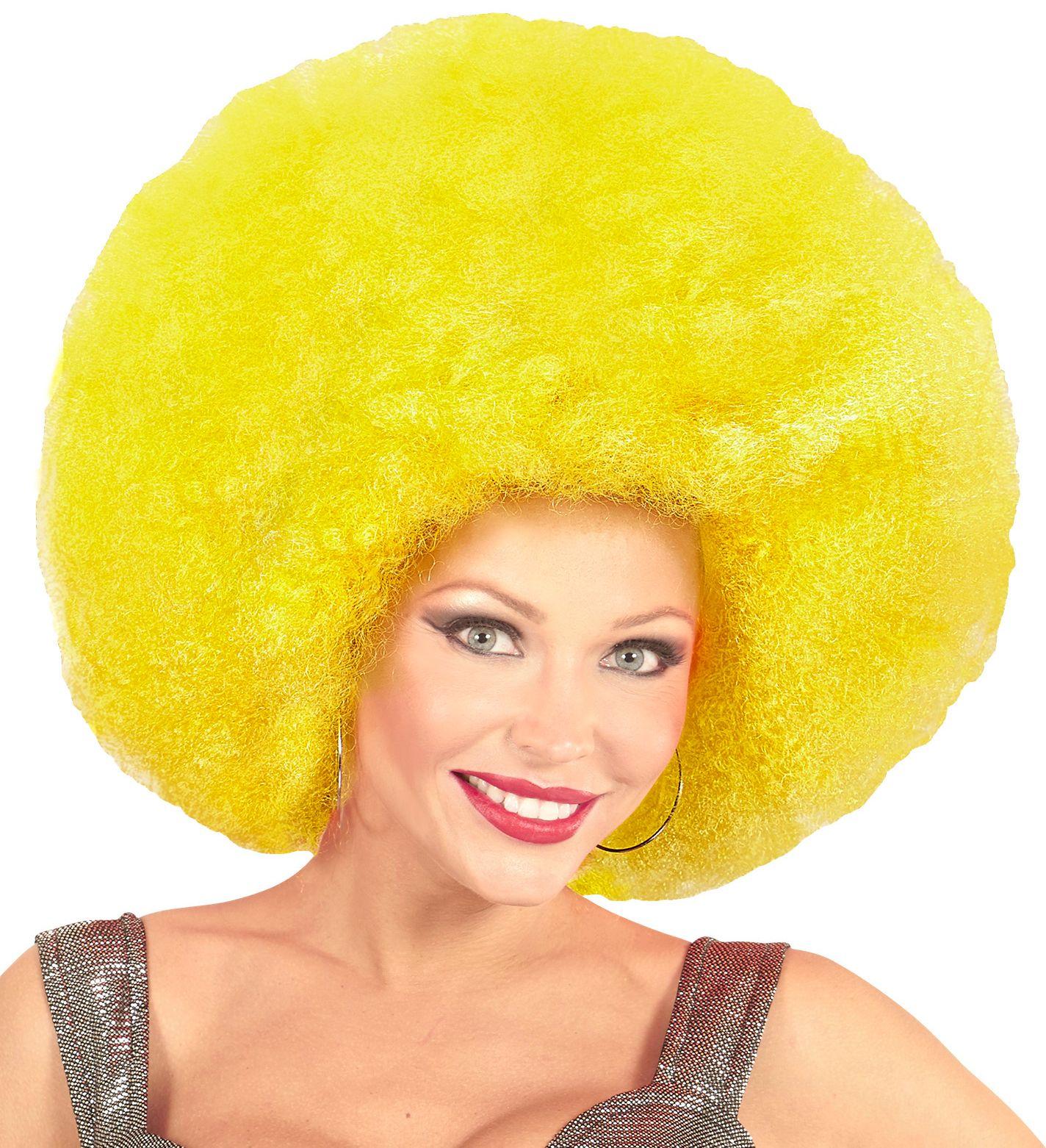 Gele afro pruik extra groot