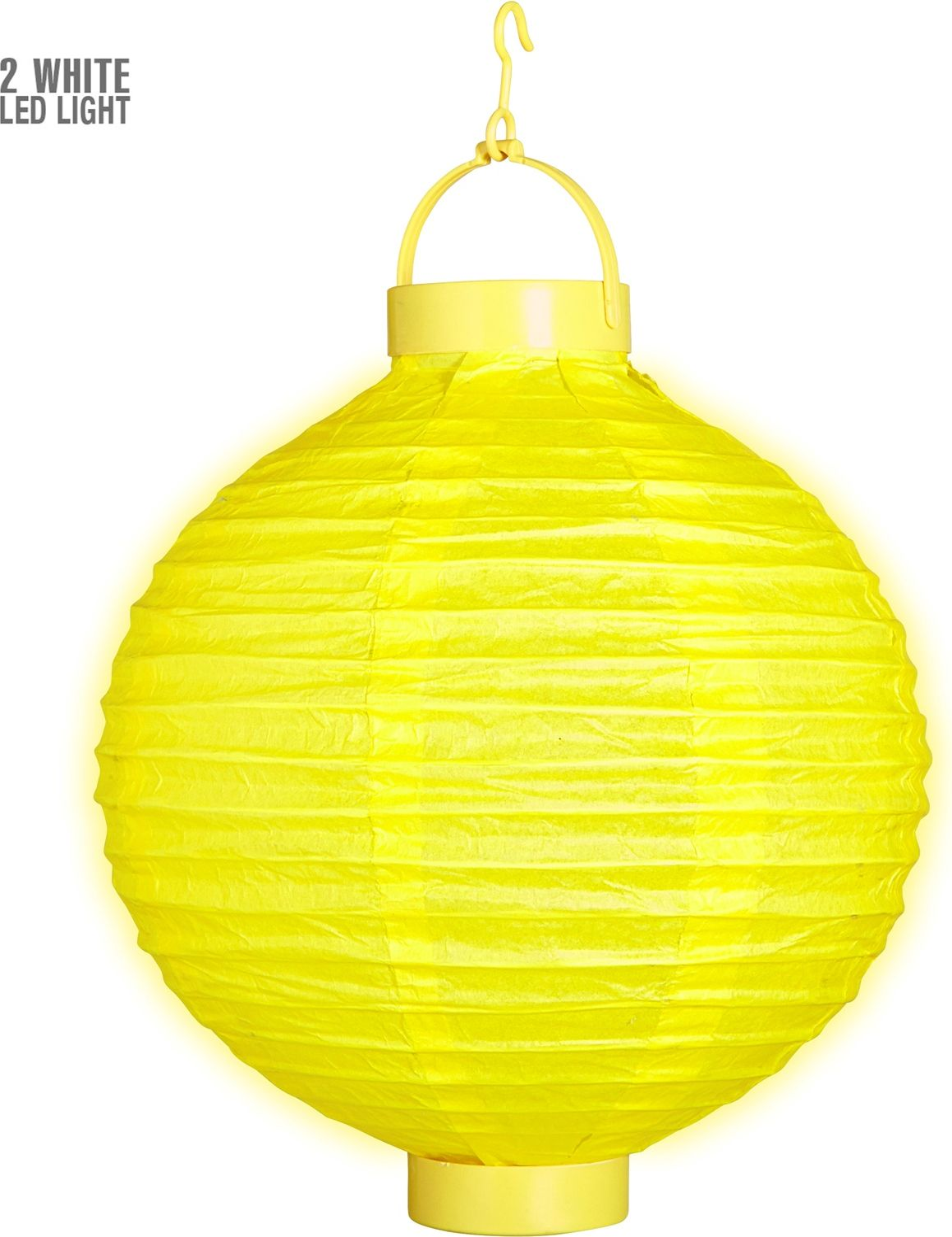 Gele lampion met 2 witte LED lichten